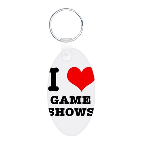 I Heart (Love) Game Shows Aluminum Oval Keychain