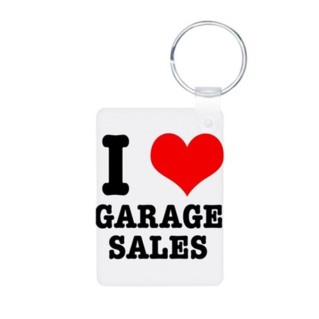 I Heart (Love) Garage Sales Aluminum Photo Keychai