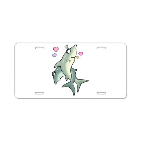 Cute Sharks in Love Aluminum License Plate