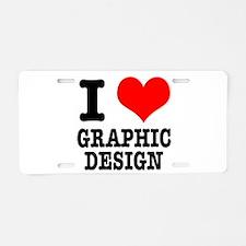 I Heart (Love) Graphic Design Aluminum License Pla