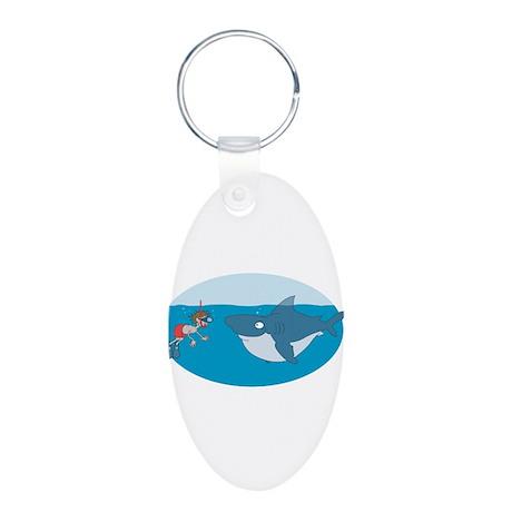 Funny Shark Encounter Aluminum Oval Keychain