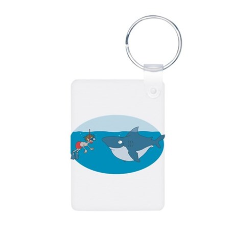 Funny Shark Encounter Aluminum Photo Keychain