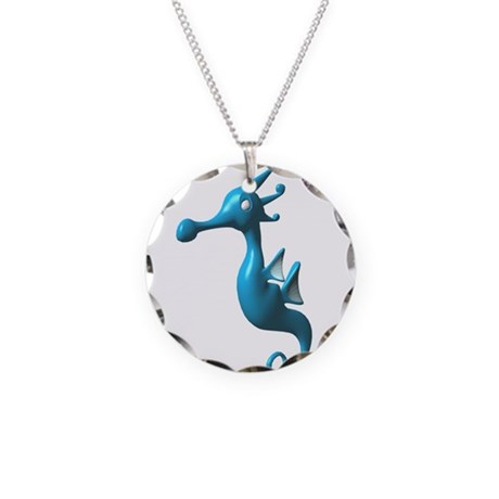 Cute Turquoise Seahorse Necklace Circle Charm