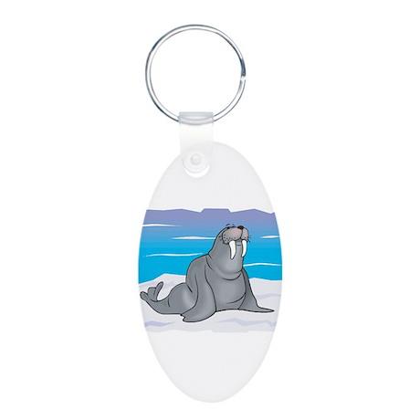 Cute Grey Walrus in Snow Aluminum Oval Keychain