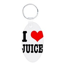 I Heart (Love) Juice Aluminum Oval Keychain