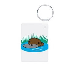 Silly Platypus in the Water Keychains