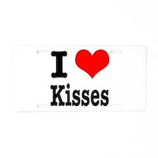 I Heart (Love) Kisses Aluminum License Plate