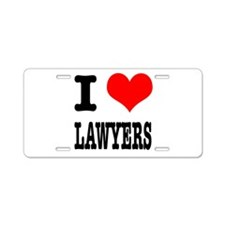 I Heart (Love) Lawyers Aluminum License Plate