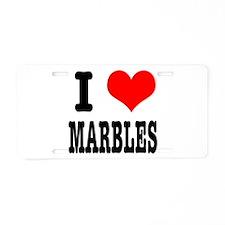I Heart (Love) Marbles Aluminum License Plate