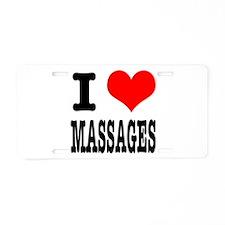I Heart (Love) Massages Aluminum License Plate