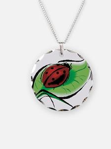 Ladybug on a Leaf Necklace