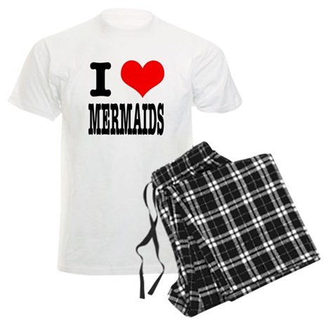 I Heart (Love) Mermaids Men's Light Pajamas