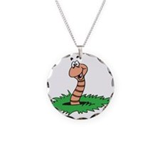 Happy Smiling Earthworm Necklace Circle Charm