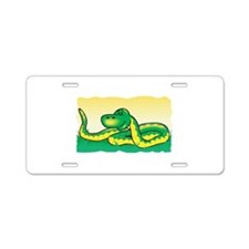 Cute Snake in Grass Aluminum License Plate