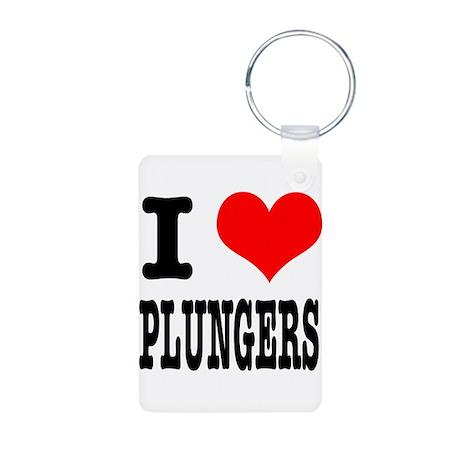 I Heart (Love) Plungers Aluminum Photo Keychain