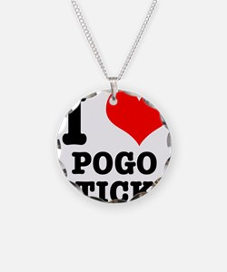 I Heart (Love) Pogo Sticks Necklace Circle Charm