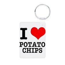 I Heart (Love) Potato Chips Keychains