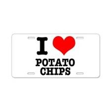 I Heart (Love) Potato Chips Aluminum License Plate