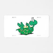 Scared Little Turtle Aluminum License Plate