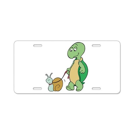 Turtle With Pet Snail Aluminum License Plate