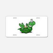 Turtle on His Back Aluminum License Plate