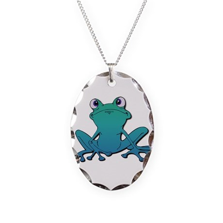 Tree Frog Necklace Oval Charm