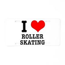 I Heart (Love) Roller Skating Aluminum License Pla