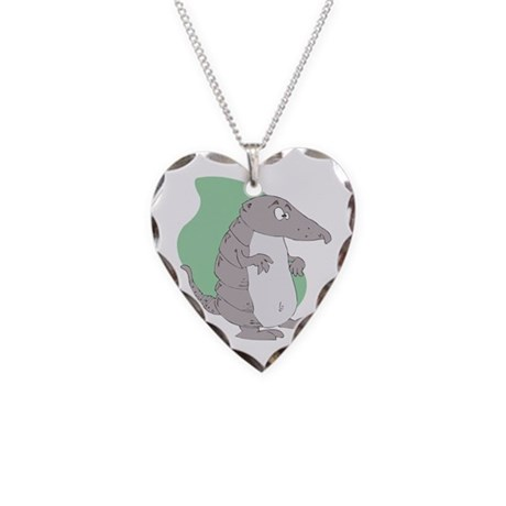 Goofy Armadillo Necklace Heart Charm