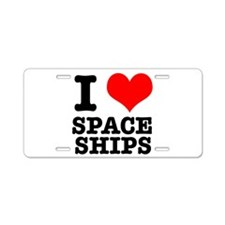 I Heart (Love) Spaceships Aluminum License Plate