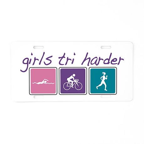 Girls Tri Harder Aluminum License Plate