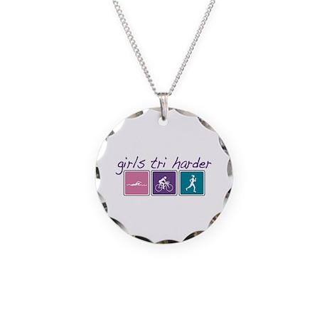 Girls Tri Harder Necklace Circle Charm