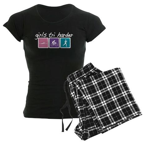Girls Tri Harder Women's Dark Pajamas