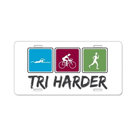 Tri Harder (Thiathlon) Aluminum License Plate