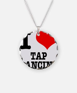 I Heart (Love) Tap Dancing Necklace Circle Charm