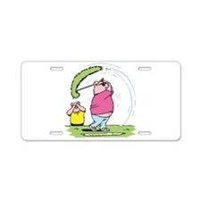 Funny Golfing Pig Aluminum License Plate