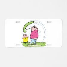 Funny Golfing Pig Aluminum License Plate