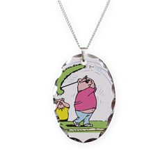 Funny Golfing Pig Necklace