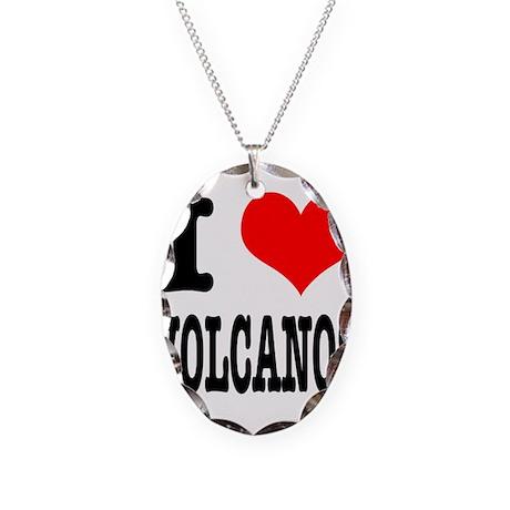 I Heart (Love) Volcanos Necklace Oval Charm