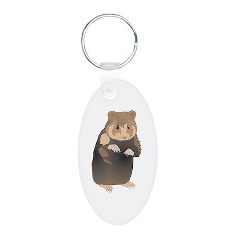 Cute Sitting Hamster Aluminum Oval Keychain