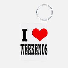 I Heart (Love) Weekends Keychains
