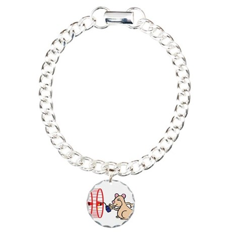 Hamster with Squeaky Wheel Charm Bracelet, One Cha
