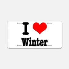I Heart (Love) Winter Aluminum License Plate