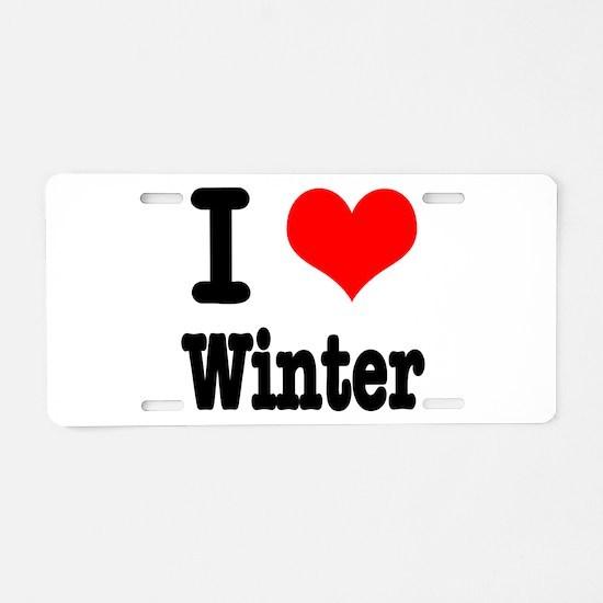 I Heart (Love) Winter Aluminum License Plate