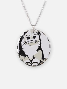 Cute White Persian Kitten Necklace