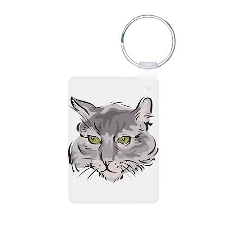 Cute Grey Cat Face Aluminum Photo Keychain