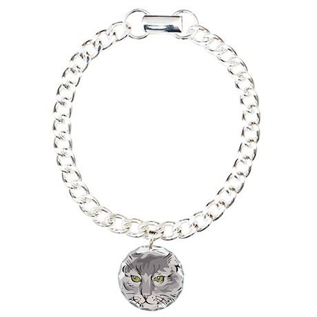 Cute Grey Cat Face Charm Bracelet, One Charm