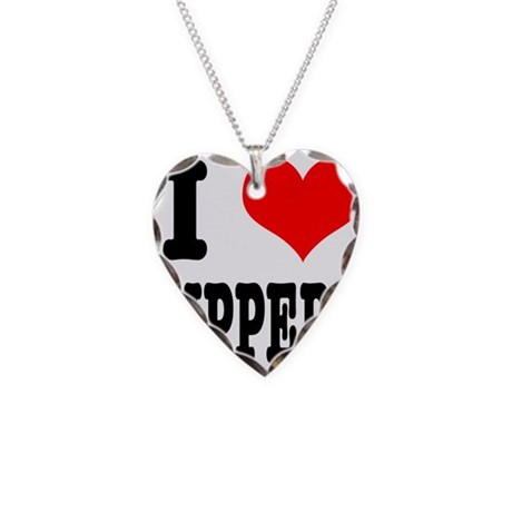 I Heart (Love) Zippers Necklace Heart Charm