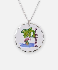 Florida flamingo Necklace Circle Charm