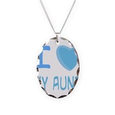 Blue I Heart (Love) My Aunt Necklace Oval Charm