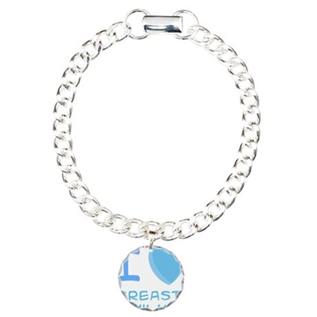 Blue I Heart (Love) Breast Mi Charm Bracelet, One
